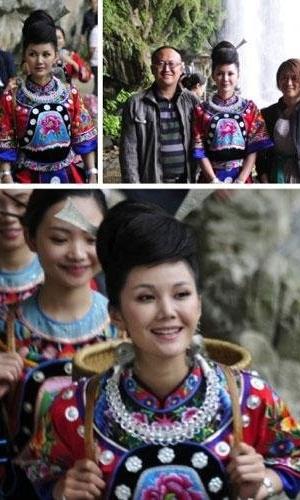 宋祖英亲妹妹回乡代言 清新民族风造型美似姐姐